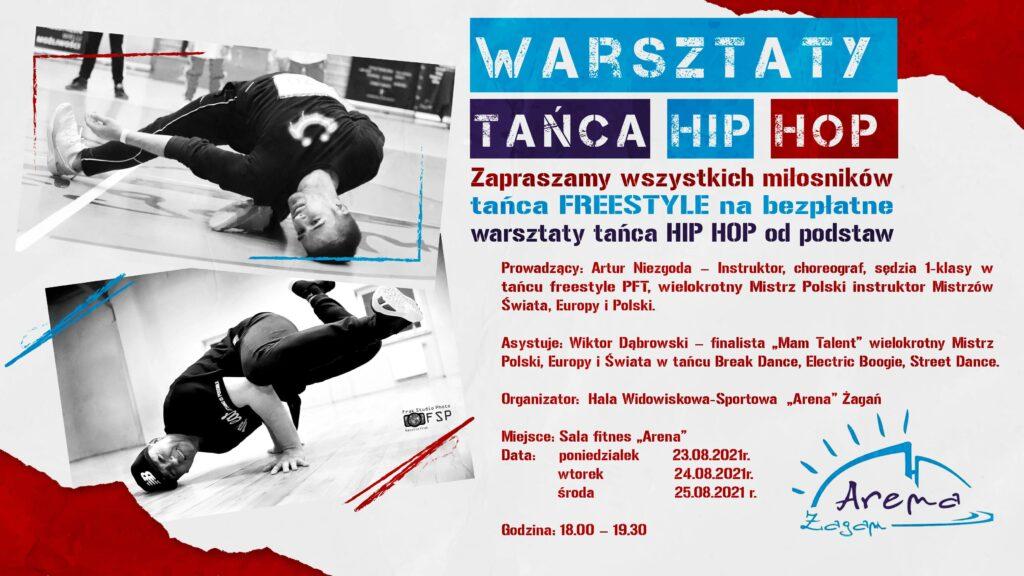 Plakat dotyczący warsztatów HIP HOP