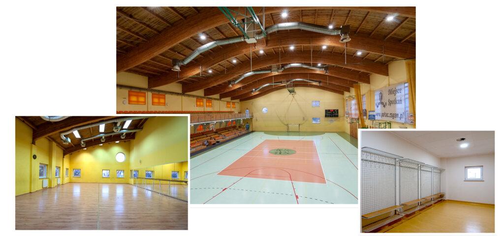Zdjęcie przedstawia Halę Arena, salę fitness i szatnie